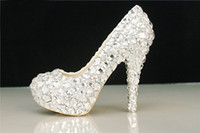 Wholesale Cheap Beautiful Shoes - Fashion High Heel Shoes for Wedding Bridal with Silver Crystal Stock Fast Shipping Runway Party Cheap Platform Pumps Beautiful Accessories