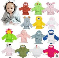 Wholesale Towels Robes For Kids - Good Quality Baby Kids Robes Bathrobe Cartoon Shark Lion Animal Towels Cape Hooded Cloak Soft Comfortable Shower Robes For Sale
