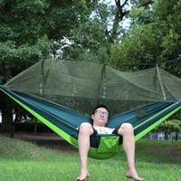 rede familiar venda por atacado-Viagem portátil Camping Hammock Parachute Fibric Camping Redes Mosquiteiro Cama Portátil Cerca de 260 Cm * 140 Cm Para Camping Para A Família