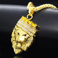 Wholesale Lion Pendant Necklaces - New Arrivals Hip Hop Gold Plated Black Eyes Lion Head Pendant Men Necklace King Crown Iced Out Fashion Jewelry For Gift Present