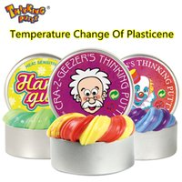 Wholesale Lights Change Colors - Thinking Putty Intelligent Creative Hand Gum Temperature Change Turns Color Slime Silly Putty light Clay Fimo Plasticine Mud Doh Toys Kids