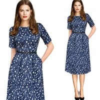 Wear to Work Midi Dresses Summer Womens Elegant Vintage Summer Polka Dot Belted Tunic Pinup Wear To Work Office Casual Party A Line Skater Dress