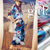 blumendruck organza großhandel-135cm breit 14mm rot und blau floral print steifer silk organza stoff für kleid shirt kleidung hose d332