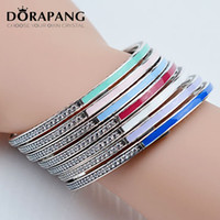 Wholesale Silver Bracelet Multicolor - DORAPANG High-quality 100% 925 Sterling Silver Princess Multicolor Hearts Bracelet Bangle Fits Pandora Style Jewelry Charms and Beads 8029
