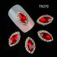 Wholesale Studs For Nail Art - Wholesale-10 Pcs Red Crystal Marquise Studs For Nails Horse Eye Design Alloy Rhinestones Decorations 3D Strass Nail Art Supplies TN270
