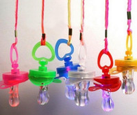 Wholesale Nipple Necklaces - Light Up Pacifier Nipple Whistle Necklace Colorful Flash Led Whistle Stag Hen Party Concert Sports Cheering Glow Props survival tool favors
