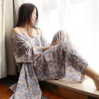 Wholesale Ladies Three Piece Pajamas - Sexy Women Satin Cotton Pajamas Three-Piece Pyjama Sets Lace Embroidery Imitation Silk Pijamas Femininos Ladies Sleepwear