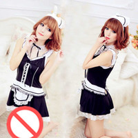 Wholesale Women S Sex Clothes - Free shipping new hot sex clothes cospaly ladies maid game uniforms temptation suit pajamas sexy goddess sleep skirt couples sexy lingerie m