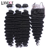 Wholesale brazilian curly top closure - Peruvian Malaysian Brazilian Virgin Hair Weaves 3 Bundles with Top Lace Closure Deep Wave Curly 8A Indian Cambodian Remy Human Hair Closures
