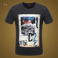 Wholesale T Shirts Smooth - Europian Men Crew neck T shirts short sleeves print pure cotton T shirts muscle fit smooth casual T shirts factory prices