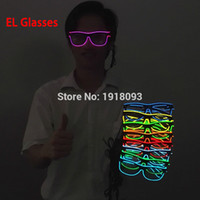 Wholesale Light Up Glasses Wholesale - Wholesale- 10 Colors el glasses El Wire Fashion Neon LED Light Up Sun glasses Glow Rave Costume Party DJ Bright Glasses Light-up toys