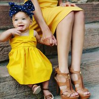 Wholesale Bowknot Dress Yellow - Baby Clothes INS Summer Girls Dresses Bowknot Kids Dress Solid Color Infant Baby Girls Slip Dress Backless Dress Pleated Dresses 058