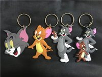 Wholesale Girl Toms - America anime Tom and Jerry Keychain PVC two-side Keychain double Tom PVC Keychain Action Figures Fashion Toys For Christmas Gift