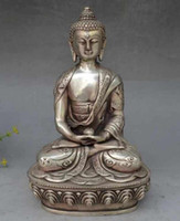 Wholesale Black Art Sculptures - Chine Argent Bouddhisme dragon amende Po Chanté Bouddha Lotus siège Sculpture Statue