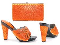 Wholesale Orange Dress Shoes For Women - 17041704 New Orange Sandals Matching Shoes and Bags for African Partys Italian Shoes with Matching Bags African Wedding Shoe and Bag Sets