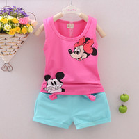 Wholesale Baby Leopard Pink Outfit - Baby Kids children Clothing Sets Summer Newborn Girl casual mickey Pattern t-shirt pants tracksuit girls ruffle outfits toddler pant sets