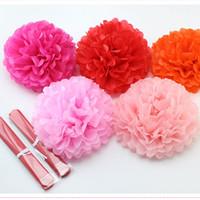 Wholesale Tissue Paper Flower Favors - 1pcs 10inch (25cm) pompon Tissue Paper Pom Poms Flower Kissing Balls Home Decoration Festive Party Supplies Wedding Favors