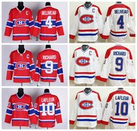 Wholesale Maurice White - Montreal Canadiens Throwback Jerseys Ice Hockey 4 Jean Beliveau Jersey Red White 10 Guy Lafleur 9 Maurice Richard CCM Jerseys