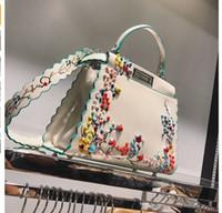 Wholesale Wave Handbag - 2017 Women Peekaboo Bag Embroidery Famous Brand Designer Tote Big Handbag Shoulder Bags Printing Rivet Waves Luxury Bags Purse