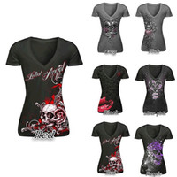 Wholesale Skull Top Plus Size - New Women T-Shirt Sexy Skull Print Long Sleeve Tee Shirt Lace Patchwork Black Tee Tops Pullovers Plus Size