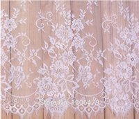 Wholesale Black White Quilt Fabric - 6 M   Lot French Eyelash Lace Fabric 150cm White Black Diy Exquisite Lace Embroidery Clothes Wedding Dress Accessories RS213