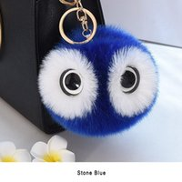 Wholesale Owl Ear Rings - 13CM New 2017 Lovely Fluffy Rabbit Ear Fur Ball Key Chain Rings Pompon Owl Keychain Cars Women Bags Jewelry For Maitresse Gift
