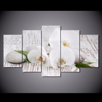 Wholesale Picture Pebbles - New White orchid pebbles 5 Panel Unframed Canvas Painting Home Wall Decor Modern Art Printed Oil Flowers Paintings For Bedroom