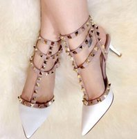 Wholesale Stud Heel Shoes - 2017 Free shipping Valentine Garavani Studs pumps genuine leather High-heeled shoes women's shoes Sandals shoes woman 35-42
