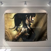Animazione tattoo girl Rock Band Poster Scrolls Bar Caffè Ristorante Home Decor Banners Hanging Art Decorazione in stoffa impermeabile