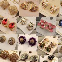 Wholesale Pink Green Earrings - Mix Order Charm Earrings Round Crystal Earrings For Women Silver Gold Plated Stud Earring New Fashion CZ Diamond Drop Dangle Earrings