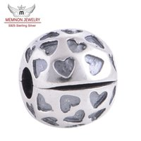 Wholesale Fine Core - Memnon Jewery Love Hearts Lock Clip Core Stopper Charms Beads 925 sterling Silver fine jewelry fit European Style Bracelets DIY Making KT006