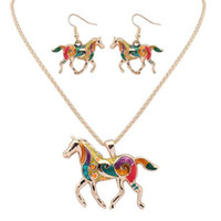 Wholesale Ethnic Rainbow - Fashion Ethnic Jewelry Sets DHL Rainbow Horse Pendant Necklace Drop Earrings Gold Silver Colorful Drip Charm Gift for Women Bohemian Style