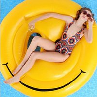 160cm Emoji Piscine gonflable Salons de flottaison Smile Face gonflable Seat-On Pool Toy Flotteur Natation Water Boat Kickboard Beach Mat