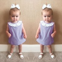 Wholesale Cheap Wholesale Toddler Clothes - 2017 Ins Baby girl dresses Cape collar Plaid sleeveless dress Toddler clothing Infants Boutique Maternity 100%cotton Cheap price wholesale