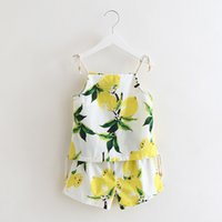 Wholesale Wholesale Fresh Lemons - Everweekend Girls Summer Lemon Print Outfits Halter Tops and Shorts 2pcs Sets Fresh Fruit Print Clothing
