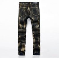 Wholesale Golden Pants - 3 colour!Mens brand Punk Jeans Skinny 2017 Runway Distressed Elastic Jeans Denim Biker Hiphop Pants Golden Silver Jeans For Men