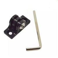 Wholesale Wholesale Flashlight Mounts - Black Aluminum Alloy Flat Bottom Mount Adapter + 18mm Screw + Wrench Tool Set for Sport Camera flashlight Accessories