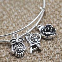 Wholesale rose wheels - 12pcs Sleeping Beauty inspired bracelet Owl Spinning wheel rose charm bangle bracelet