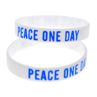pulseras conmemorativas al por mayor-Venta al por mayor 100PCS / Lot Printed Logo Memorial Pulsera Peace One Day 21 de septiembre Regalo promocional de pulsera de silicona