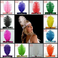 Wholesale Animal Carnival Costumes - Feather Headband Ostrich Feather Headhand Carnival Home Party 1920's Flapper Sequin Charleston Costume Ostrich Feather Headband Indian