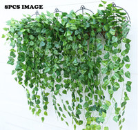 Wholesale fake vine decorations - 10PCS Green Artificial Fake Hanging Vine Plant Leaves Foliage Flower Garland Home Garden Wall Hanging Decoration IVY Vine Supplies