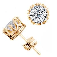 Wholesale zircon cubic sterling cz earrings online - New Fashion Crown Wedding Stud Earring New Sterling Silver CZ Diamonds Zircon Engagement Crystal Earrings For Women