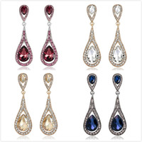 Wholesale Teardrop Dangle Earrings Blue - Vintage Dangling Earrings Red Yellow White Blue Crystal Teardrop Hanging Earrings Women Jewelry Gifts Drop Earrings