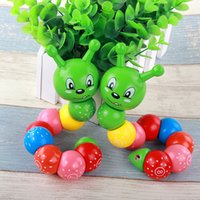 Wholesale Wooden Caterpillar - DIY Baby Child Polished Lovely Snake Worm Twist Caterpillars Colorful Numbers Wooden Toy Fingers Flexible Training Science Twisting Worm Toy