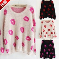 Wholesale Sexy Kisses Lips - Wholesale-FREE SHIPPING WINTER SPRING FEMALE SMOOTH MOHAIR SEXY LIPS PRINT KNITTED PULLOVER SWEET CASUAL SWEATER OUTWEAR KISS