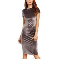 Wholesale Wholesale Women Short Tight Dress - tight round neck dress knee pencil dress Bodycon clothes Sexy dress Work Dresses Women's Clothing 1137