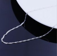 Wholesale 925 Silver Water Wave Chain Necklace Womens Kids16 quot quot Jewelry G406