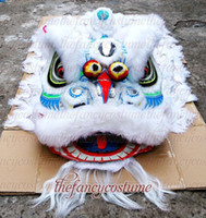 Wholesale Orange Lion Costume - new white blue sliver lion high quality wool Lion Dance mascot Costume made of pure wool Southern Lion Adult size chinese Folk costume