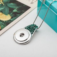Wholesale Gourd Necklace Pendant - 10Pcs Crystal Gourd shape Pendant With Silver Chain necklaces 18mm button snaps jewelry necklaces pendants for women Jewelry