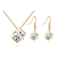 Wholesale Indian Cube - hip hop jewelry New Fine Women Romantic Cube AAA Zircon Silver Gold Wedding Jewelry Earring Necklace Bridal Jewelry Set cross necklaces
